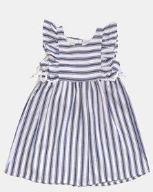 Razberry Kids Stripe Apron Dress Ink/White