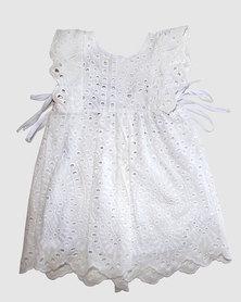 Razberry Kids Girls Apron Dress - White