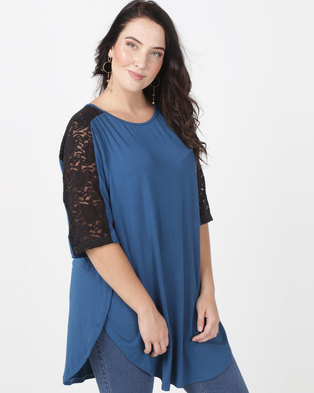 Utopia Tulip Hem Tee With Lace Inset Plus Petrol