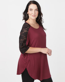 Utopia Tulip Hem Tee With Lace Inset Plus Burgundy