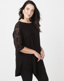 Utopia Tulip Hem Tee With Lace Inset Plus Black