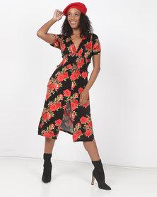Utopia Print Flare Dress Rose