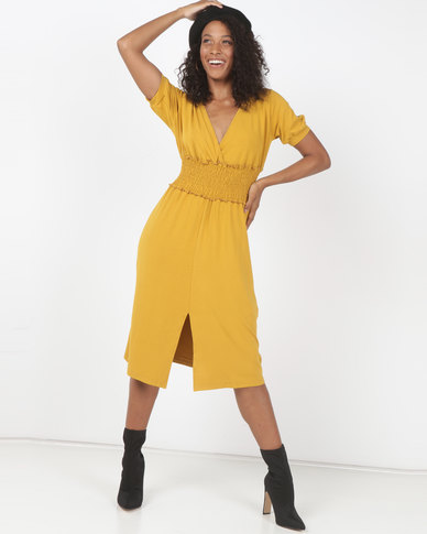 Utopia Flare Knit Dress Mustard