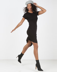 Utopia Asymmetrical T-Shirt Dress Black