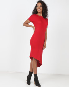 Utopia Asymmetrical T-Shirt Dress Red