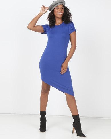 Utopia Asymmetrical T-Shirt Dress Cobalt