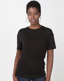 Utopia Tie Front Top Black