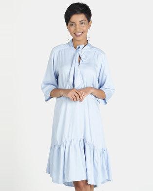 46321297e4b Closet London Pep Hem Short Sleeve Tie Neck Dress Pale Blue