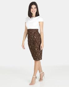 Closet London Cowl Neck 2in1 Print Skirt Dress Khaki