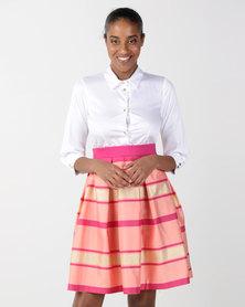 Closet London 2in1 Button Up Metallic Skirt Dress Multi