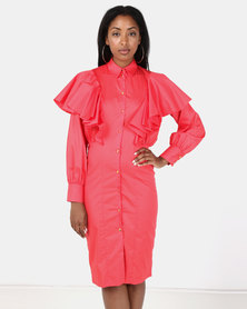Closet London Long Sleeve Frill Detail Dress Red