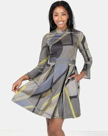 Closet London High Neck Pleated Wide Sleeve Dress Khaki
