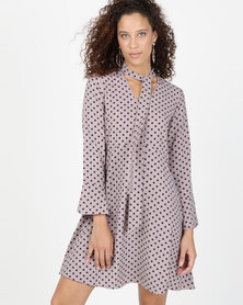 Closet London A-line Flared Skirt Dress With Tie Neck Multi