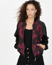 Closet London Printed Bomber Jacket Black/ Multi