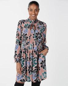 Closet London Pussybow Retro Print Dress Multi