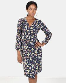 Closet London Floral Long Sleeve Wrap Dress Multi