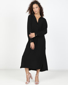 Closet London Split Hem Collar Long Line Shirt Dress Black