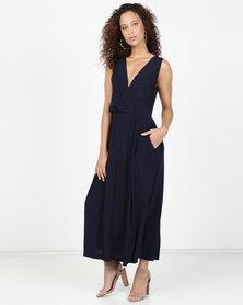 Closet London V Neck Side Split Maxi Dress Navy