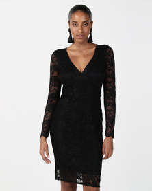 City Goddess London Lace Open Back Midi Dress Black