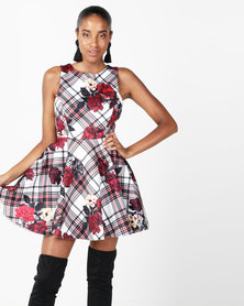 City Goddess London Floral And Tartan Skater Dress Multi
