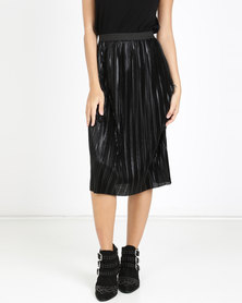 QUIZ Foil Ela Midi Skirt Black