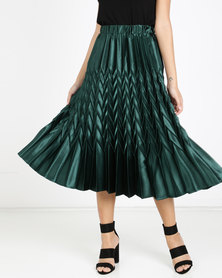 QUIZ Satin Pleated Skirt Bottle Green