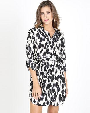 77dbe1fbcae QUIZ Leopard Print Shirt Dress Cream Black And Grey