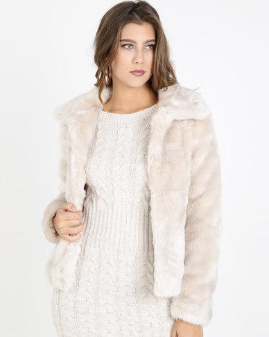 QUIZ Short Fur Collar Jacket Stone