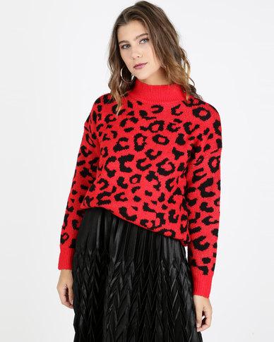 QUIZ Knit Leopard Print Jumper Red and Black