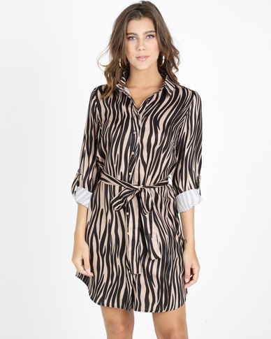 QUIZ Gold Button Shirt Dress Stone And Black