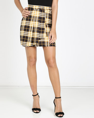 QUIZ Check Pleated Skirt Mustard and Black