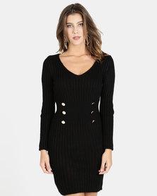 QUIZ Knit Button Detail Jumper Dress Black
