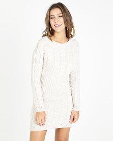 QUIZ Knit Cable Design Jumper Dress Oatmeal