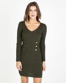 QUIZ Knit Button Detail Jumper Dress Khaki