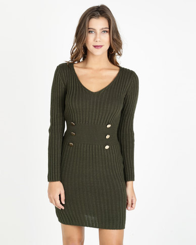 cf2a471cddc6 QUIZ Knit Button Detail Jumper Dress Khaki