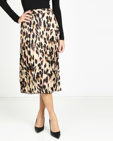 QUIZ Leopard Print Midi Skirt Stone And Black