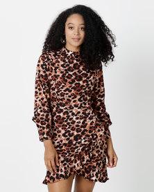 London Hub Fashion High Neck Wrap Mini Dress Leopard