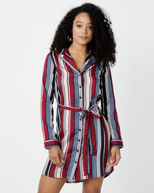 London Hub Fashion Stripe Button Detail Shirt Dress Multi