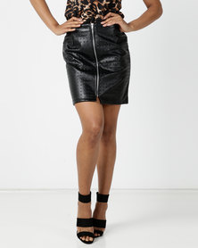 London Hub Fashion Studded PU Leather Skirt Black