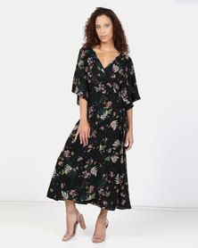 Liquorish Floral Maxi Dress Black