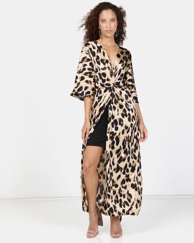 37546c9155b Liquorish Animal Print Wrap Dress Multi