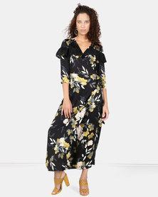 Liquorish Floral Print Wrap Midi Dress Black