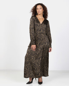 Liquorish Dark Animal Print Wrap Dress Multi