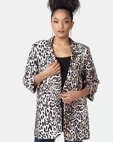 Liquorish Animal Print Blazer Multi