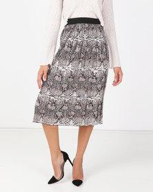 Liquorish Snakeskin Pleated Midi Skirt Multi
