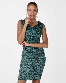 City Goddess London Animal Print Sweetheart Midi Dress Green