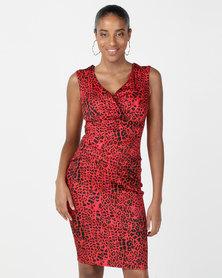 City Goddess London Animal Print Sweetheart Midi Dress Red