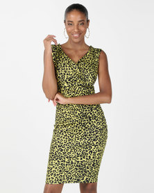 City Goddess London Animal Print Sweetheart Midi Dress Yellow