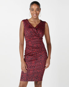 City Goddess London Snake Print Bardot Midi Dress Burgundy