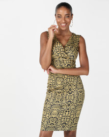City Goddess London Snake Print Bardot Midi Dress Yellow